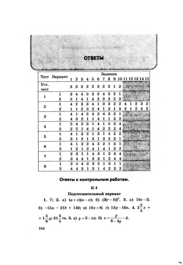дидактический материал по алгебре дьяконова ответы